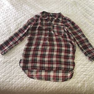 Shear Plaid Long Sleeve Blouse